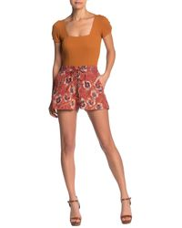 Angie Lace-up Floral Print Shorts - Red