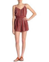 Angie Printed Lace Detail Romper - Red