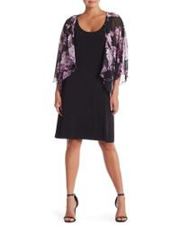 Connected Apparel - Sheer Floral Fitted Dress - Lyst