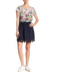 Olive & Oak - Floral Lace Trim Skirt - Lyst