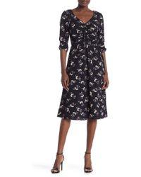 Bobeau - Ruched Floral Midi Dress - Lyst