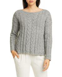 Eileen Fisher Organic Cotton & Alpaca Crewneck Sweater - Gray