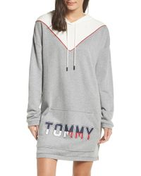 c025bd0a16 Tommy Hilfiger - Oversized Logo Velour Lounge Hoodie - Lyst