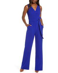 Vince Camuto Tie Front Wide Leg Jumpsuit - Blue