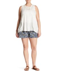 Jolt - Printed Frayed Hem Linen Blend Short (plus Size) - Lyst