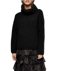 TOPSHOP Gray Knitted Chunky Turtle Neck Sweater