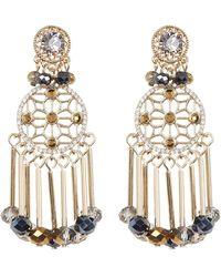 Jenny Packham - Crystal & Bead Fringe Drop Earrings - Lyst