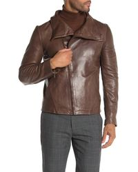 Lamarque Funnel Neck Asymmetrical Leather Jacket - Brown