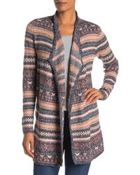 Lucky Brand Reversible Jacquard Third Piece Cardigan - Multicolour