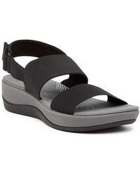 e9b6074e2e04 Lyst - Clarks Arla Jacory Cloudstepper Wedge Sandals in Black