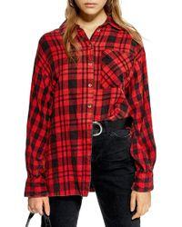 TOPSHOP Mixed Plaid Oversized Shirt (regular & Petite)