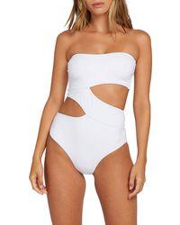 Volcom Stripe Search Hi Leg Cut Bikini Bottom - White