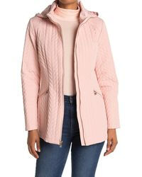Karl Lagerfeld Zip Front Quilted Coat - Pink