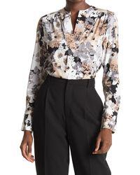 Calvin Klein V-neck Floral Printed Long Sleeve Blouse - Multicolor