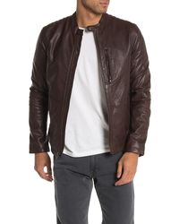 John Varvatos Racer Sheep Leather Jacket - Brown