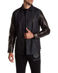 Daniel Won - Chris Leather & Denim Long Sleeve Regular Fit Shirt - Lyst