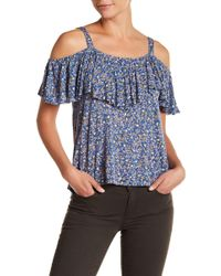 Lucky Brand - Printed Cold Shoulder Blouse - Lyst