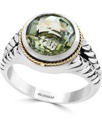 Effy Sterling Silver & 18k Gold Green Amethyst Ring - Size 7