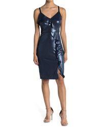 Guess Metallic Ruffle Sheath Dress - Blue