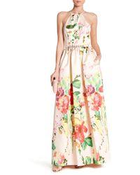 Carmen Marc Valvo - Embellished Belted Floral Dress - Lyst