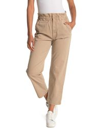 Mother The Yoyo Ruffle Greaser Ankle Crop Paperbag Pants - Natural
