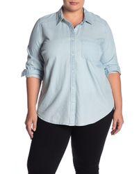 Caslon Chambray Button Front Shirt (plus Size) - Blue