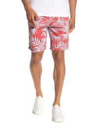 Scotch & Soda Tropical Print Cuffed Chino Shorts - Red