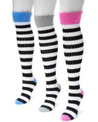 Muk Luks - Pointelle Stripe Knee High Socks - Pack Of 3 - Lyst