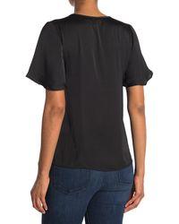 ModCloth Flutter Sleeve Novelty Collar Top - Black