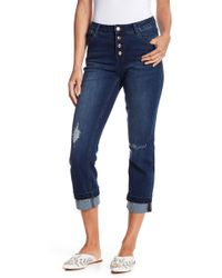 Kensie - Distressed Button Fly Skinny Jeans - Lyst