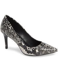 Calvin Klein Gayle Shiny Snake Embossed Leather Pump - Black