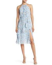 Sugarlips Ruffe Floral Dress - Blue