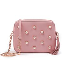 Ted Baker - Alessia Leather Faux Pearl Embellished Camera Bag - Lyst