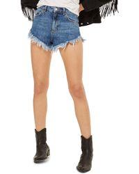 TOPSHOP Fray Hem Kiri Shorts - Blue