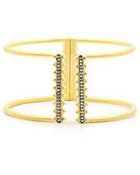Freida Rothman - 14k Yellow Gold Plated Sterling Silver Indigo Armour Pave Cz Open Cuff Bracelet - Lyst