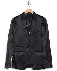 Paisley and Gray One Button Peak Lapel Skinny Fit Satin Tuxedo Jacket - Black