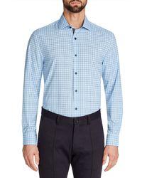 W.r.k. Trim Fit Grid Performance Dress Shirt - Blue