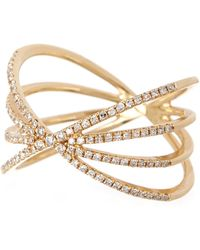EF Collection - 14k Yellow Gold Pave Diamond Sunburst Ring - Size 6 - 0.30 Ctw - Lyst