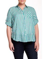 Sandra Ingrish 2 Pocket Gingham Blouse (plus Size) - Green