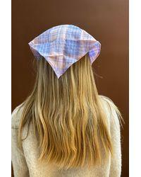 Berry Plaid Bandana Headband - Multicolor