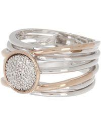 Effy 14k Rose Gold & Sterling Silver Diamond Spiral Ring - Size 7 - Metallic
