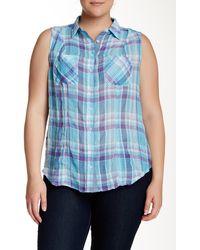 Sandra Ingrish Sleeveless Plaid Shirt (plus Size) - Blue