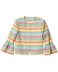 Alice + Olivia Kidman Embroidered Stripe Ruffle Sleeve Jacket - Multicolor