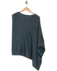 Portolano Cowl Neck Lurex Knit Poncho In Teal At Nordstrom Rack - Blue
