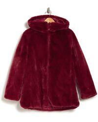 Save The Duck Waterproof Reversible Hooded Faux Fur Coat - Red