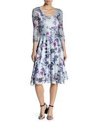 Komarov - Print 3/4 Sleeves Charmeause Dress - Lyst