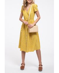 Blu Pepper Ditsy Floral Print Midi Dress - Yellow