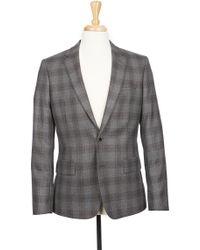 Boga - Grey Plaid Notch Lapel Modern Fit Wool Blazer - Lyst