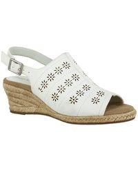 Easy Street Joann Perforated Wedge Sandal - White