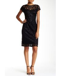 Marina - Cap Sleeve Lace Sheath Dress - Lyst